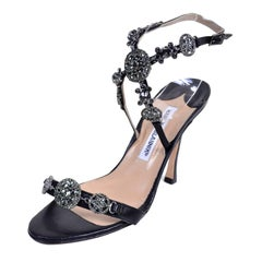 77942f744 Rare Manolo Blahnik Shoes Vintage Ankle Strap Heels With Crystals Size 37