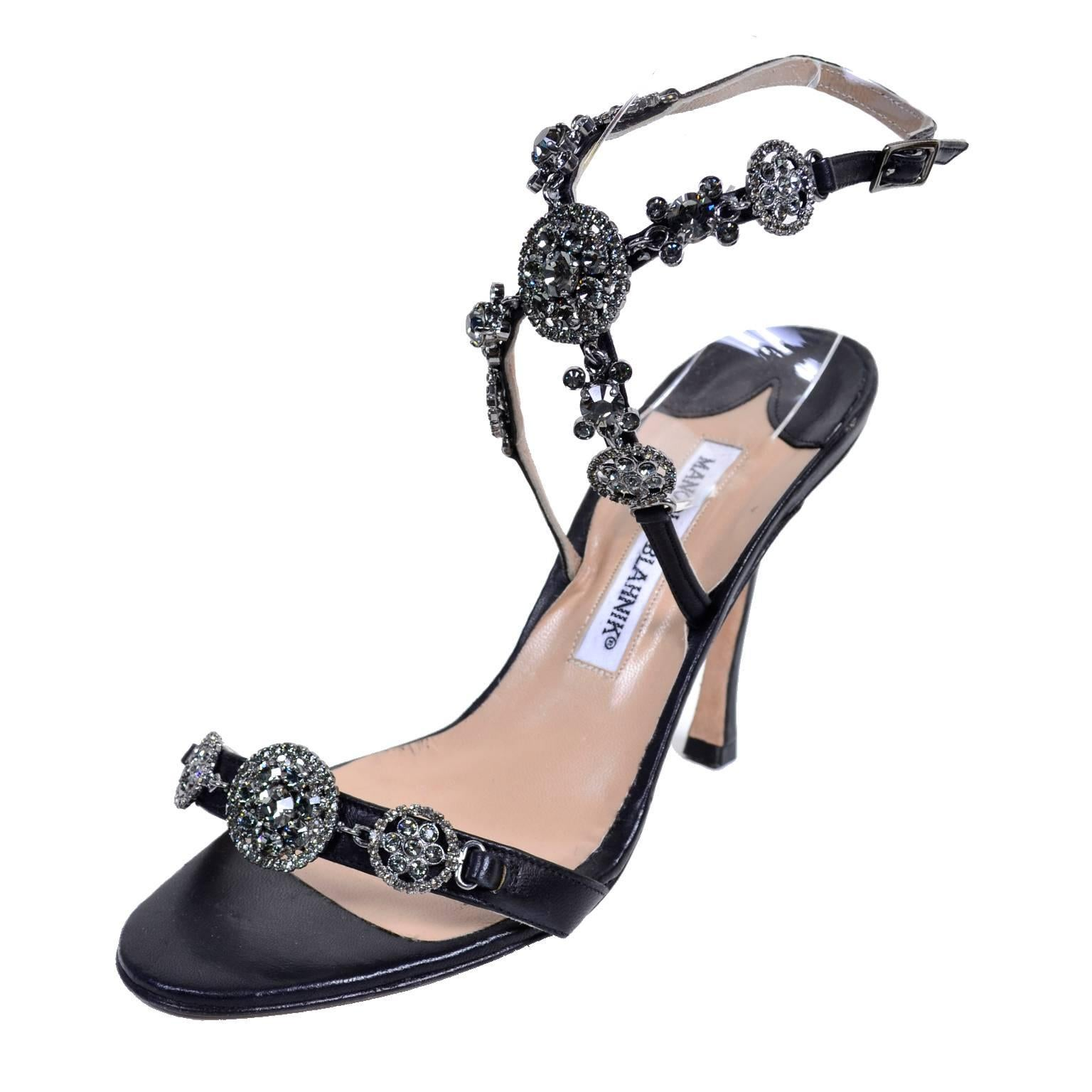 rare manolo blahnik shoes vintage ankle strap heels with crystals size 37