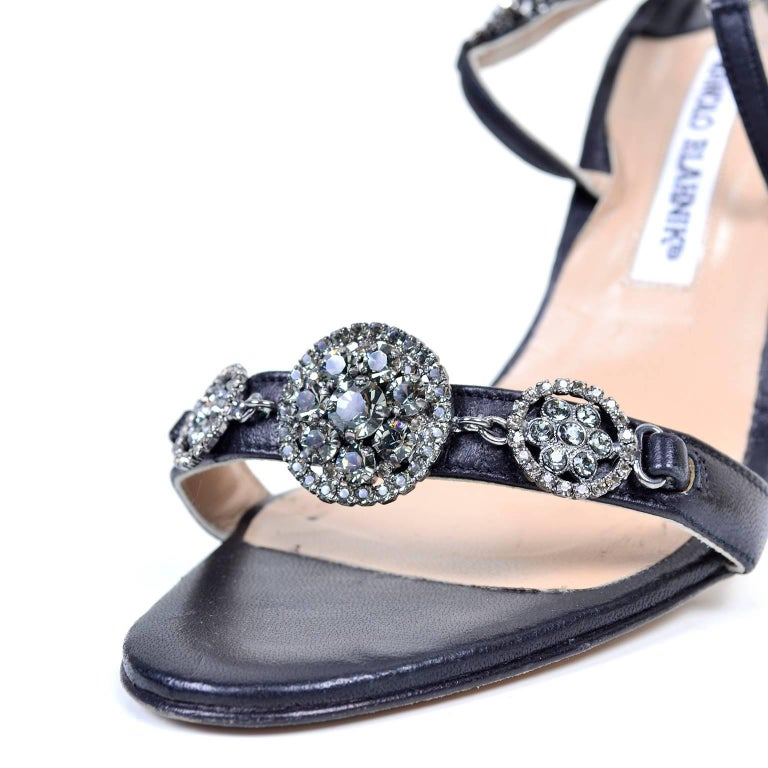 c1fb2c0799 Rare Manolo Blahnik Shoes Vintage Ankle Strap Heels With Crystals Size 37  In Excellent Condition For