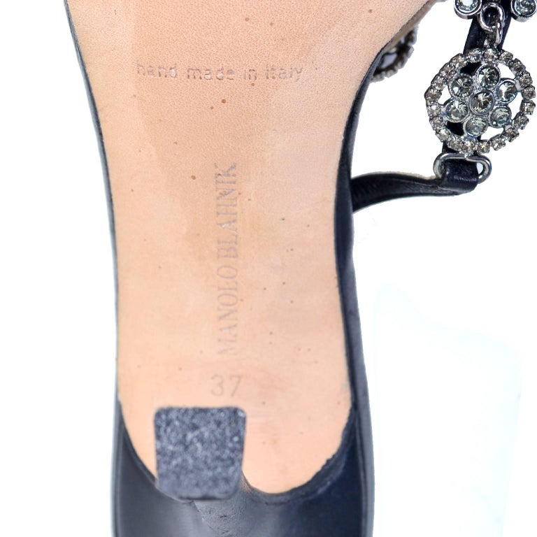 Rare Manolo Blahnik Shoes Vintage Ankle Strap Heels With Crystals Size 37 For Sale 1