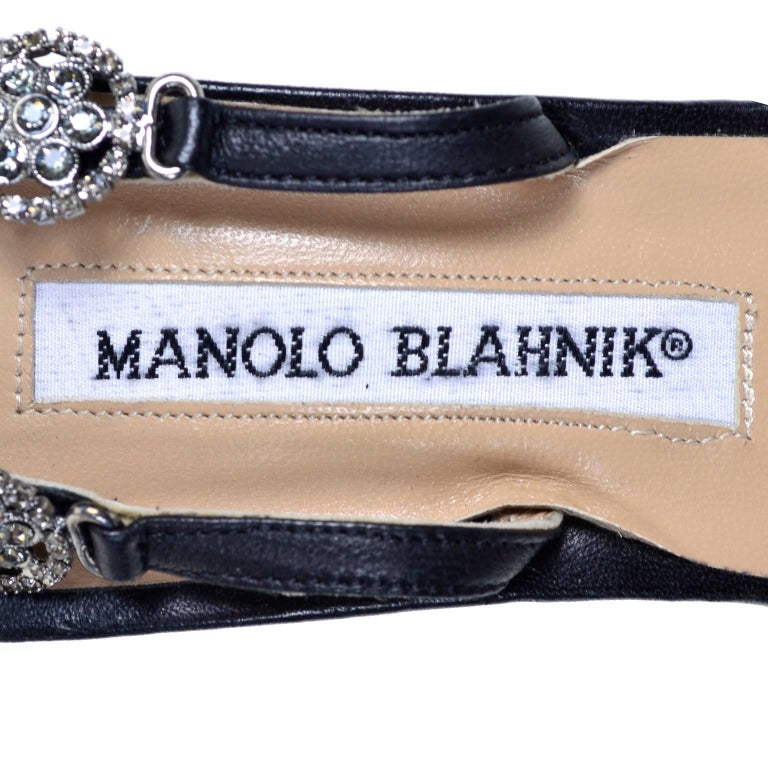 Rare Manolo Blahnik Shoes Vintage Ankle Strap Heels With Crystals Size 37 For Sale 3