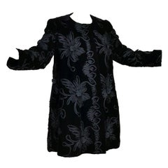 1980s Black Velvet Estevez Couture Evening Coat With Soutache Trim