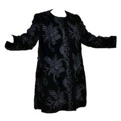 1980s Black Velvet Estevez Couture Evening Coat With Soutache Trim