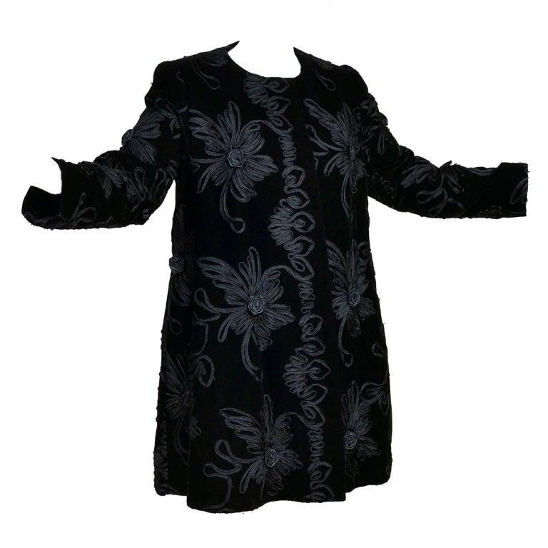 1980s Black Velvet Estevez Couture Evening Coat With Soutache Trim For Sale