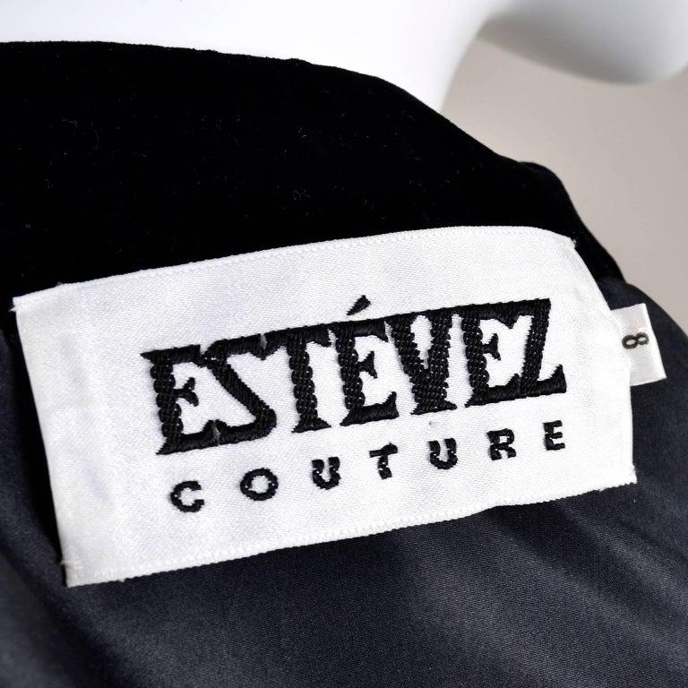 1980s Black Velvet Estevez Couture Evening Coat With Soutache Trim For Sale 2