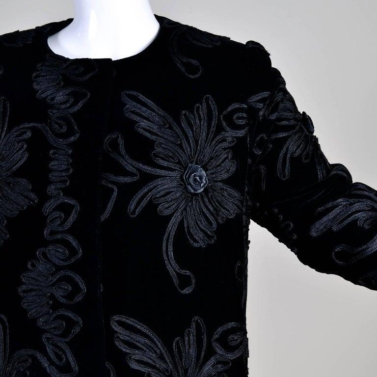 Women's 1980s Black Velvet Estevez Couture Evening Coat With Soutache Trim For Sale