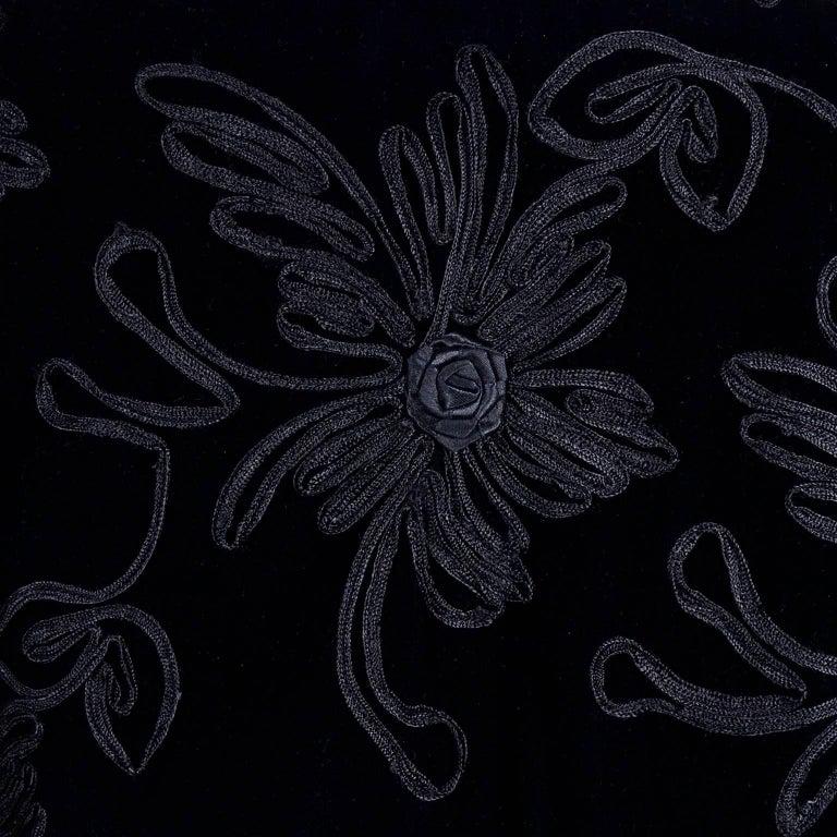 1980s Black Velvet Estevez Couture Evening Coat With Soutache Trim For Sale 1