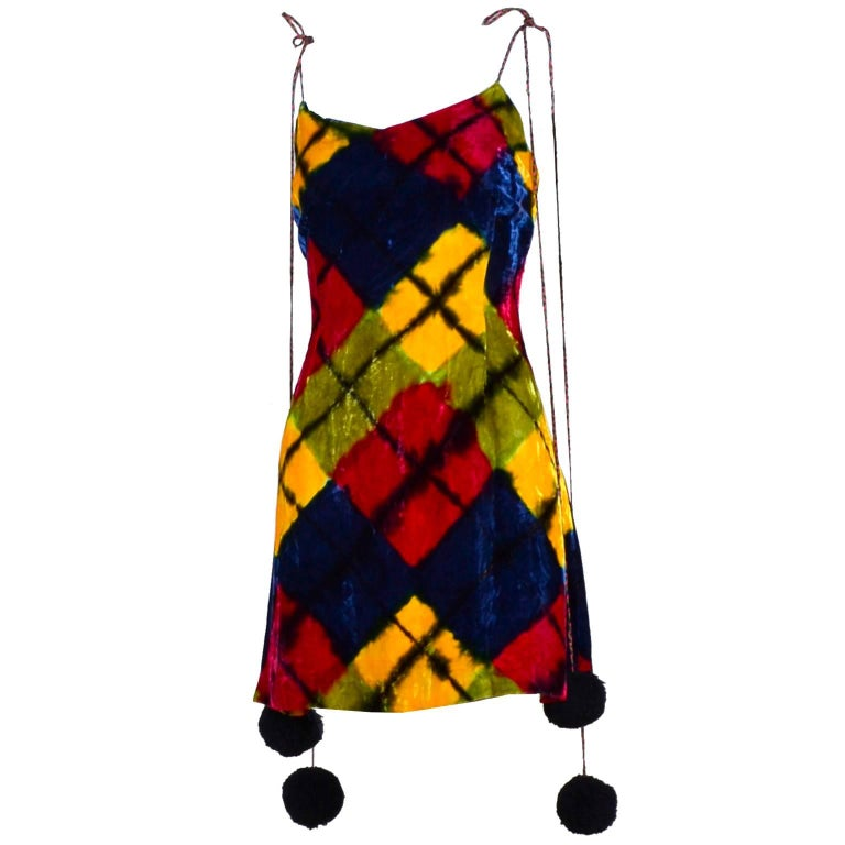Todd Oldham Vintage Velvet Argyle Harlequin Runway Dress w/ pom poms at the MET