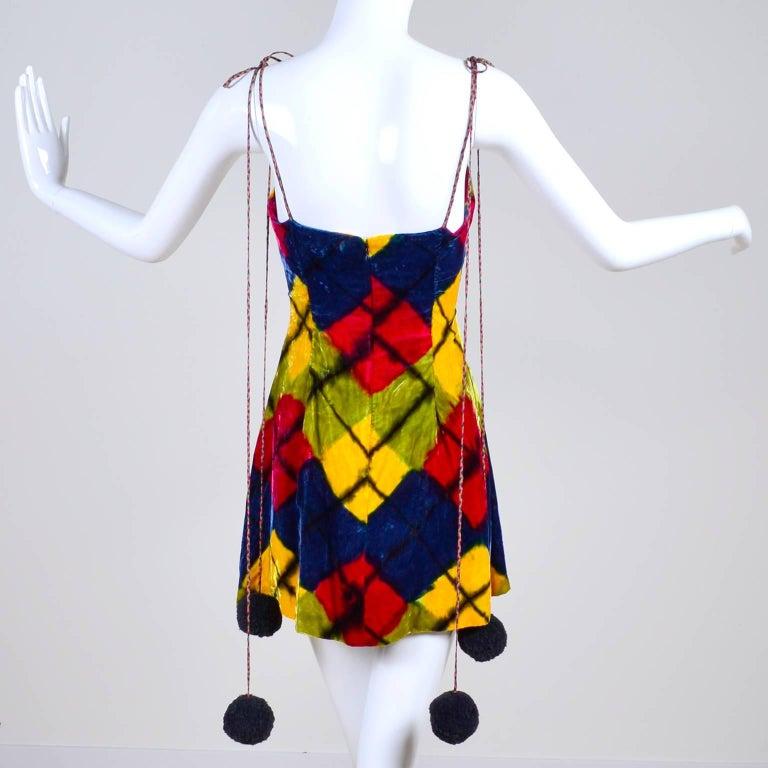 Todd Oldham Vintage Velvet Argyle Harlequin Runway Dress w/ pom poms at the MET In Excellent Condition For Sale In Portland, OR