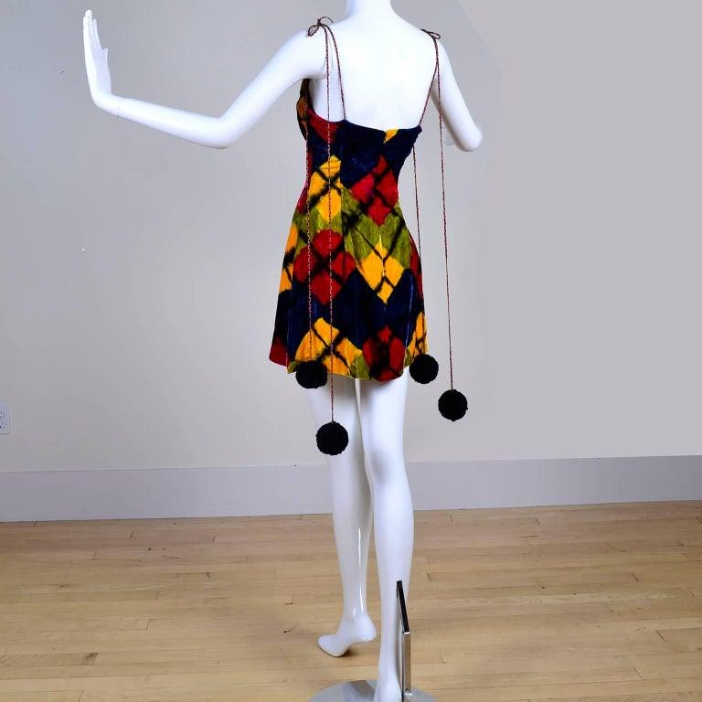 Black Todd Oldham Vintage Velvet Argyle Harlequin Runway Dress w/ pom poms at the MET For Sale
