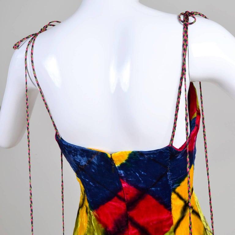 Todd Oldham Vintage Velvet Argyle Harlequin Runway Dress w/ pom poms at the MET For Sale 1