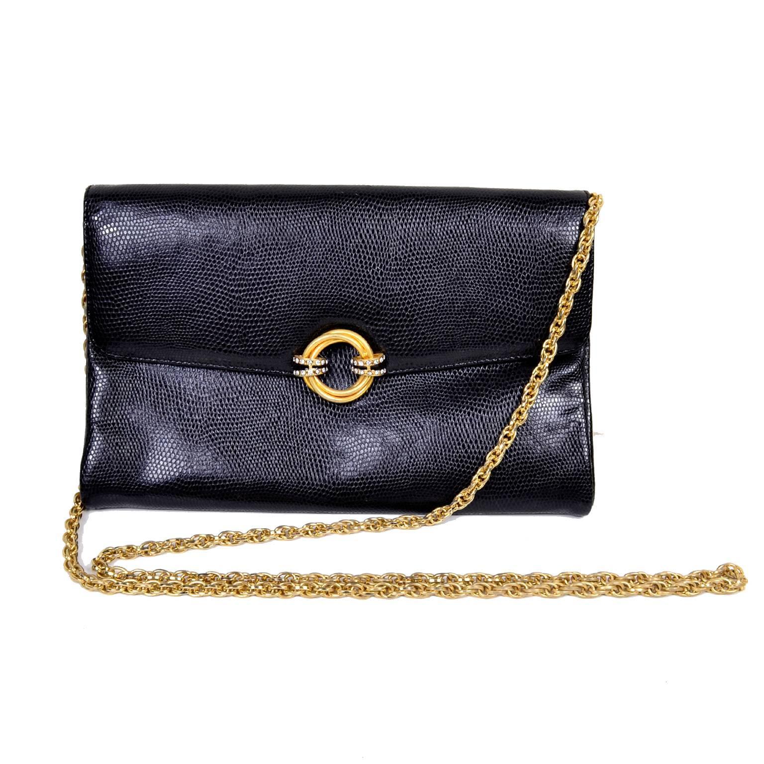 Rodo Italy Vintage Reptile Embossed Black Leather Handbag W/ Rhinestone Clasp HDOQ3i