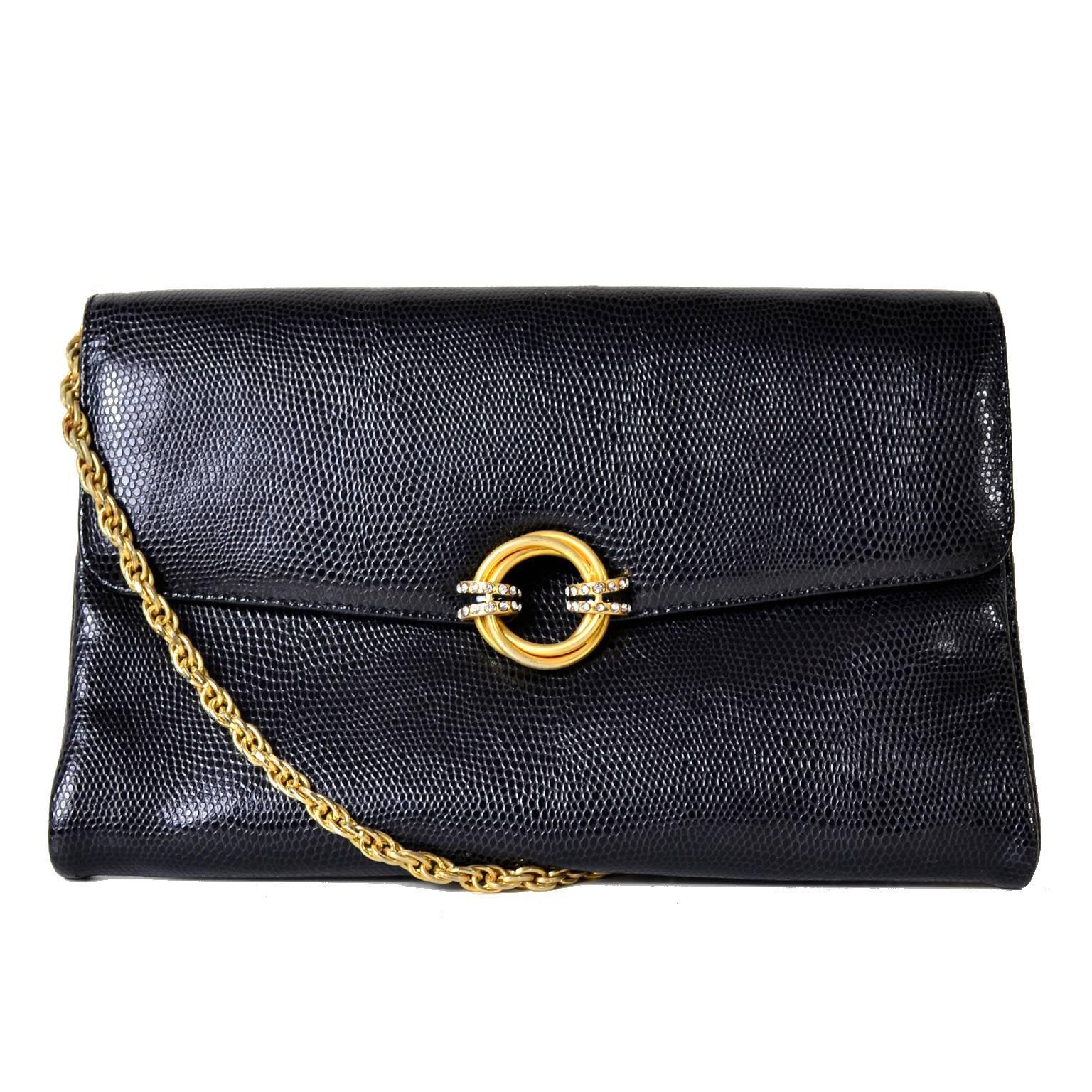 Rodo Italy Vintage Reptile Embossed Black Leather Handbag W/ Rhinestone Clasp HUMCm33