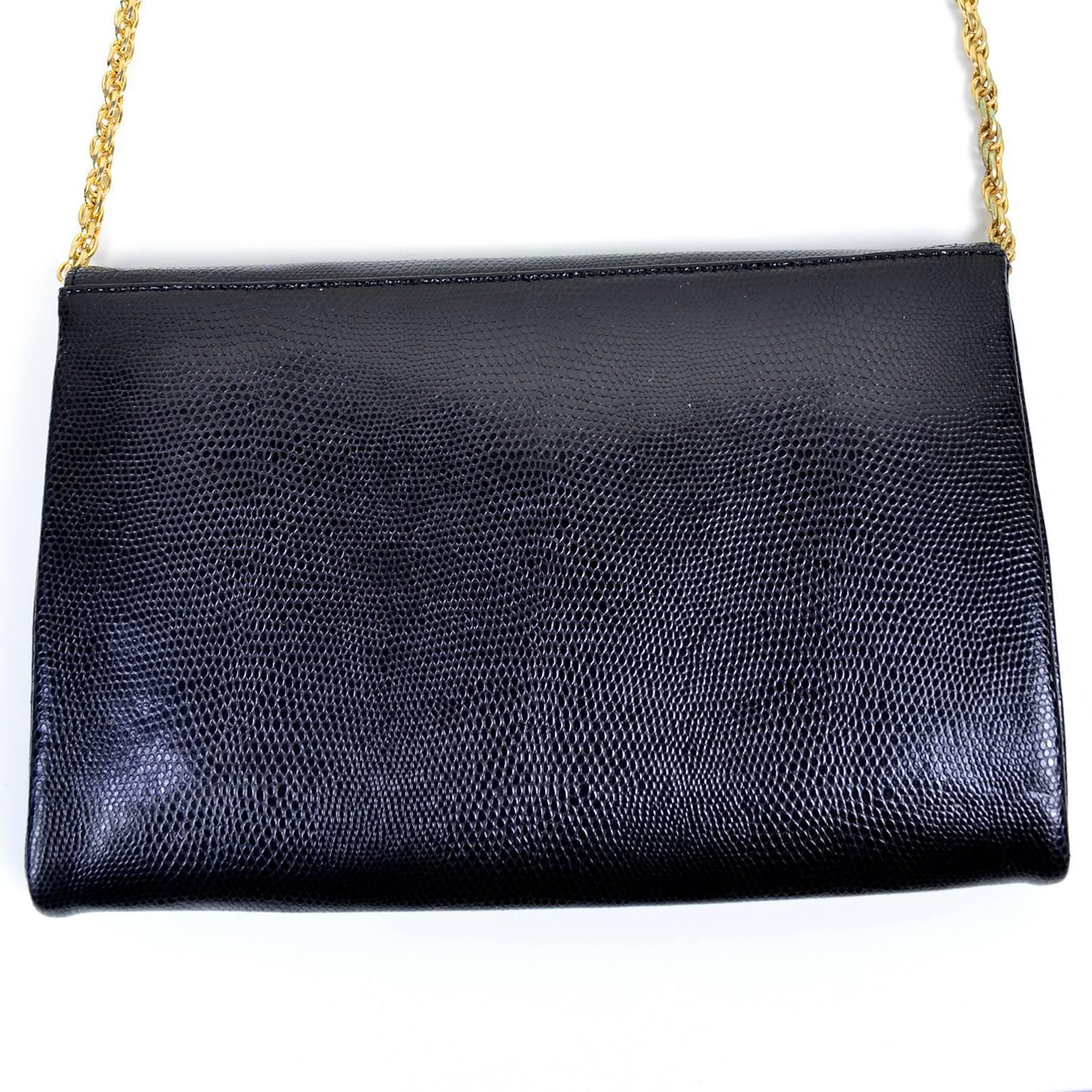 Rodo Italy Vintage Reptile Embossed Black Leather Handbag W/ Rhinestone Clasp pGV0j2wZnz