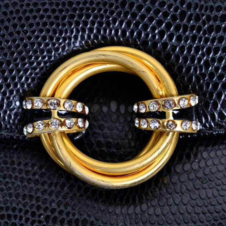 Women's Rodo Italy Vintage Reptile Embossed Black Leather Handbag w/ Rhinestone Clasp For Sale