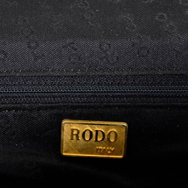 Rodo Italy Vintage Reptile Embossed Black Leather Handbag w/ Rhinestone Clasp For Sale 1