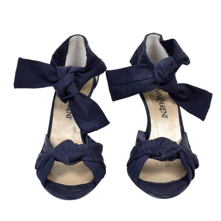 51468f13 Cher Owned Shoes YSL Yves Saint Laurent Black Vintage Ankle Strap 1930s  Style