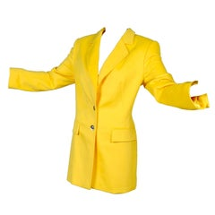 Deadstock Escada Margaretha Ley Yellow Blazer Rabbit Fur Wool Blend Jacket