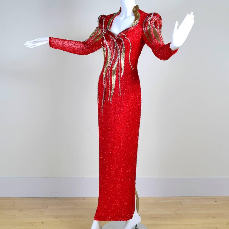 1980s Oleg Cassini Vintage Dress Red Silk Beaded Flames Evening Gown Size 6 In Excellent Condition For Sale In Portland, OR