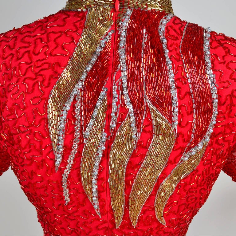 1980s Oleg Cassini Vintage Dress Red Silk Beaded Flames Evening Gown Size 6 For Sale 1