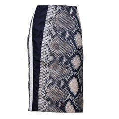 Prada Black and Ivory Snakeskin Print Silk Skirt Size 42 S/S 2009