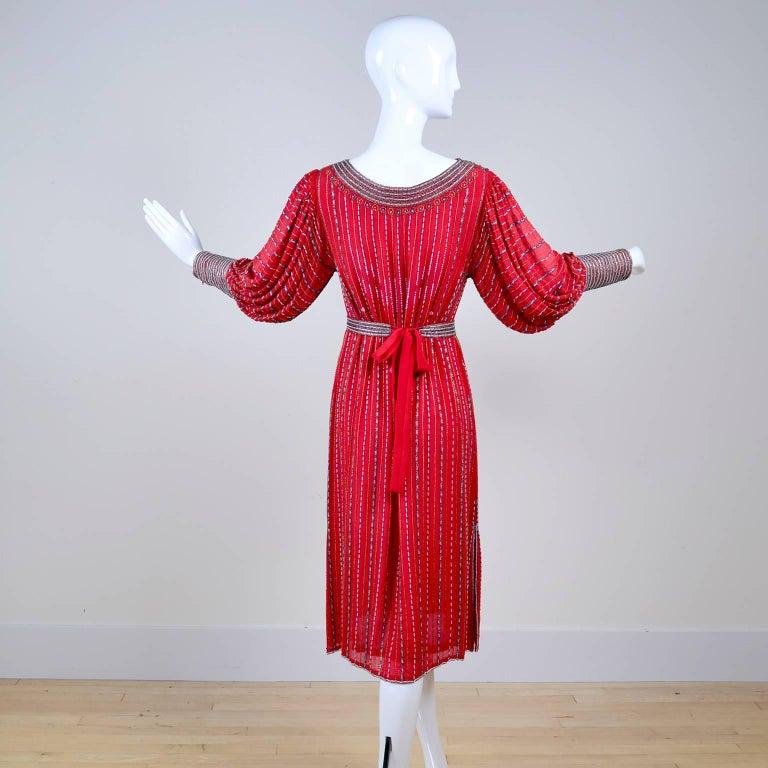 1980s 1920s Flapper Style Beaded Red Silk Vintage Dress W Original Belt  For Sale 1