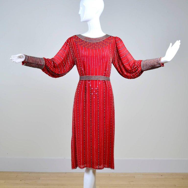 Women's 1980s 1920s Flapper Style Beaded Red Silk Vintage Dress W Original Belt  For Sale