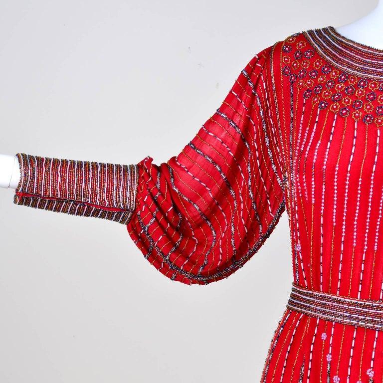 1980s 1920s Flapper Style Beaded Red Silk Vintage Dress W Original Belt  For Sale 2