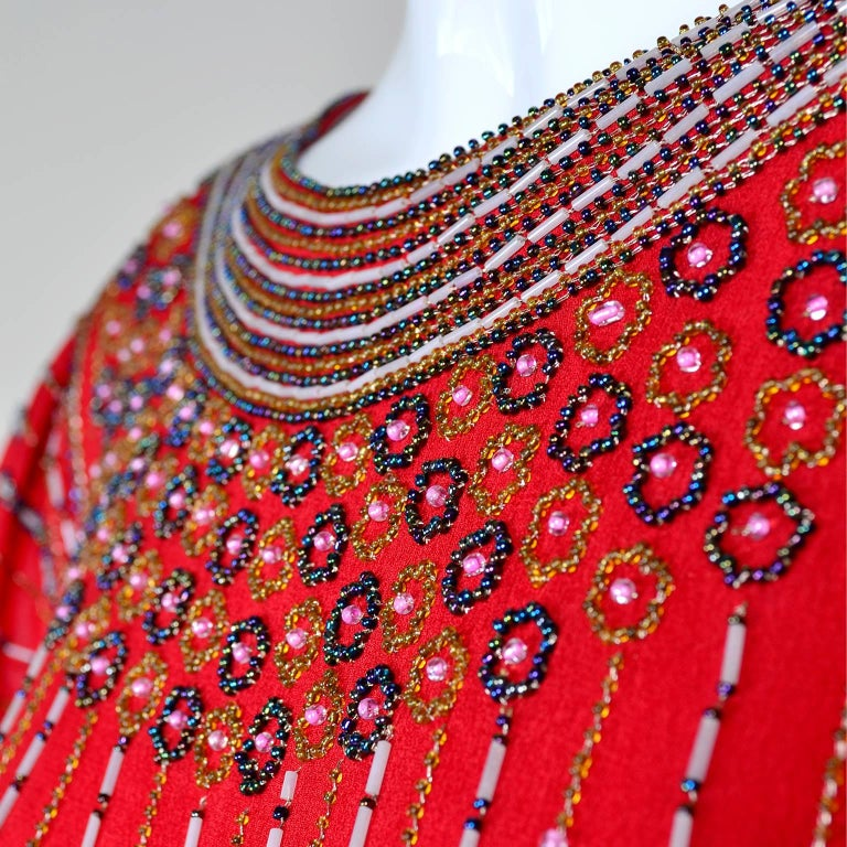 1980s 1920s Flapper Style Beaded Red Silk Vintage Dress W Original Belt  In Excellent Condition For Sale In Portland, OR