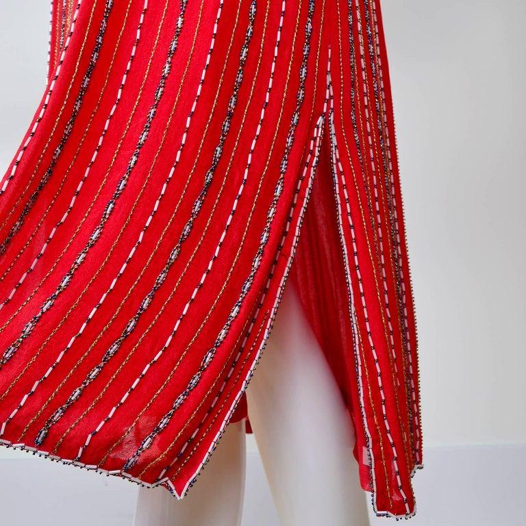 1980s 1920s Flapper Style Beaded Red Silk Vintage Dress W Original Belt  For Sale 3