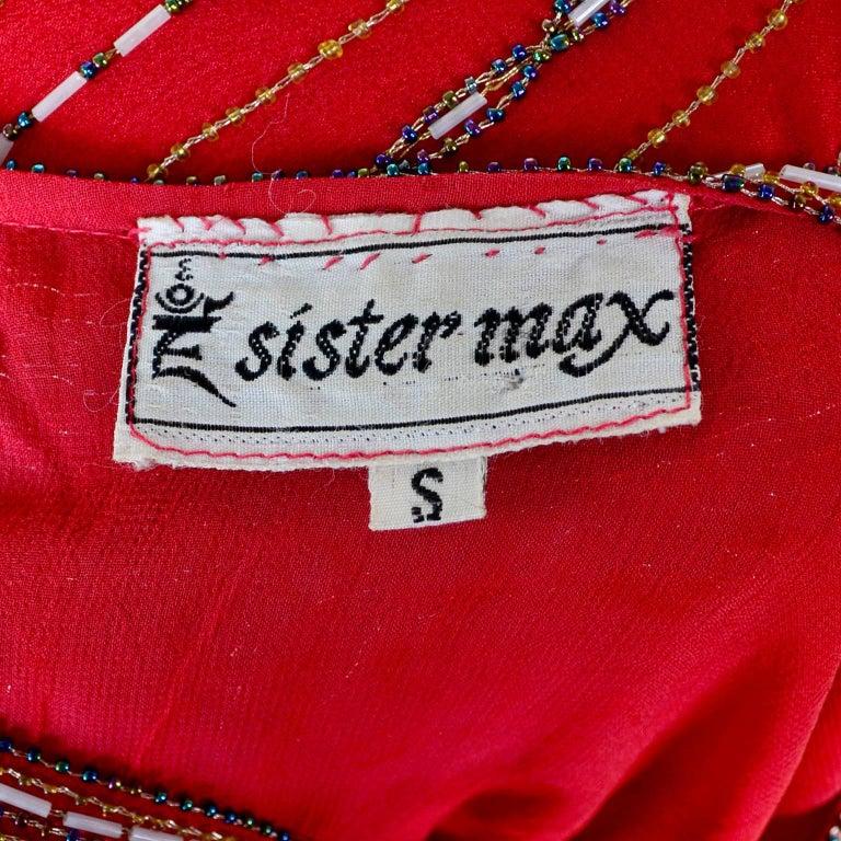 1980s 1920s Flapper Style Beaded Red Silk Vintage Dress W Original Belt  For Sale 4