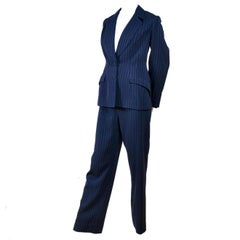 Thierry Mugler Vintage Pinstripe Dark Navy Blue Wool High Waisted Pants Suit