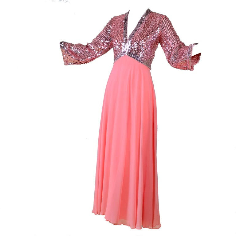 1970s Pink Chiffon & Sequins Vintage Long Dress Evening Gown For Sale