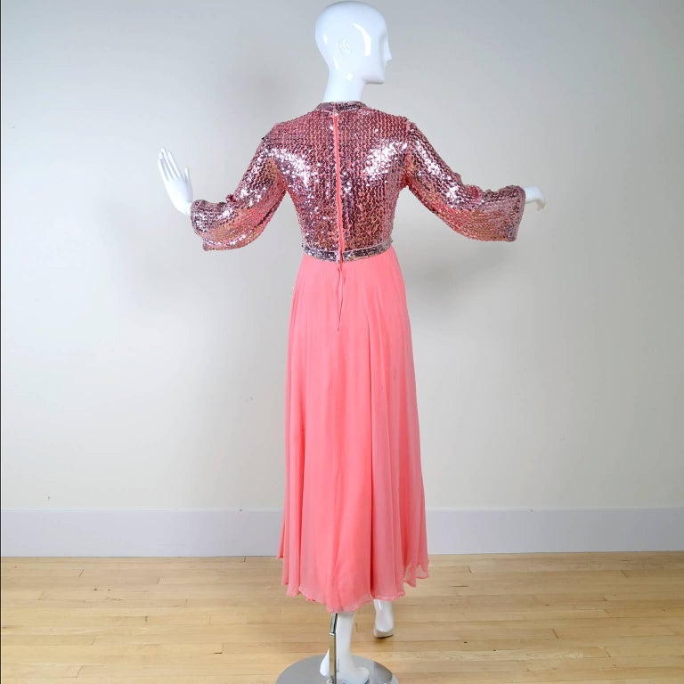 Women's 1970s Pink Chiffon & Sequins Vintage Long Dress Evening Gown For Sale