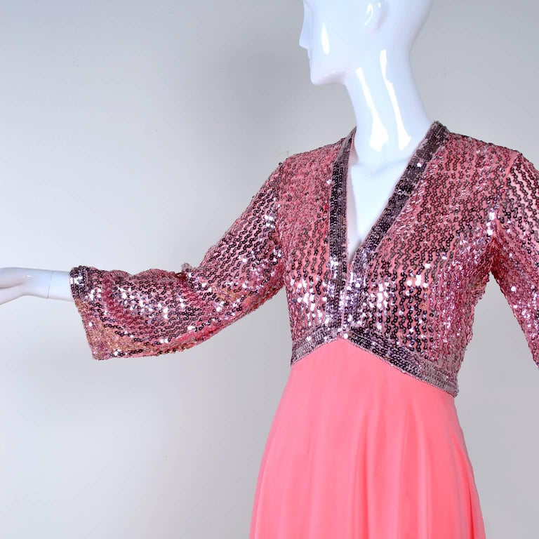 1970s Pink Chiffon & Sequins Vintage Long Dress Evening Gown For Sale 1
