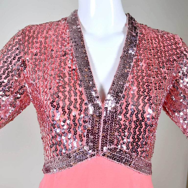 1970s Pink Chiffon & Sequins Vintage Long Dress Evening Gown In Good Condition For Sale In Portland, OR