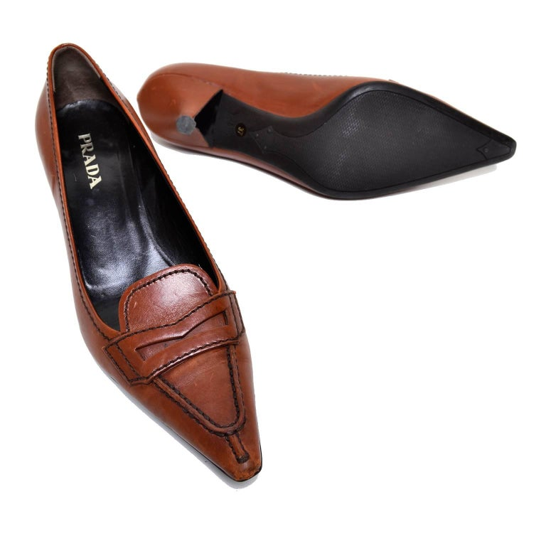 Brown Leather Slingback Shoes
