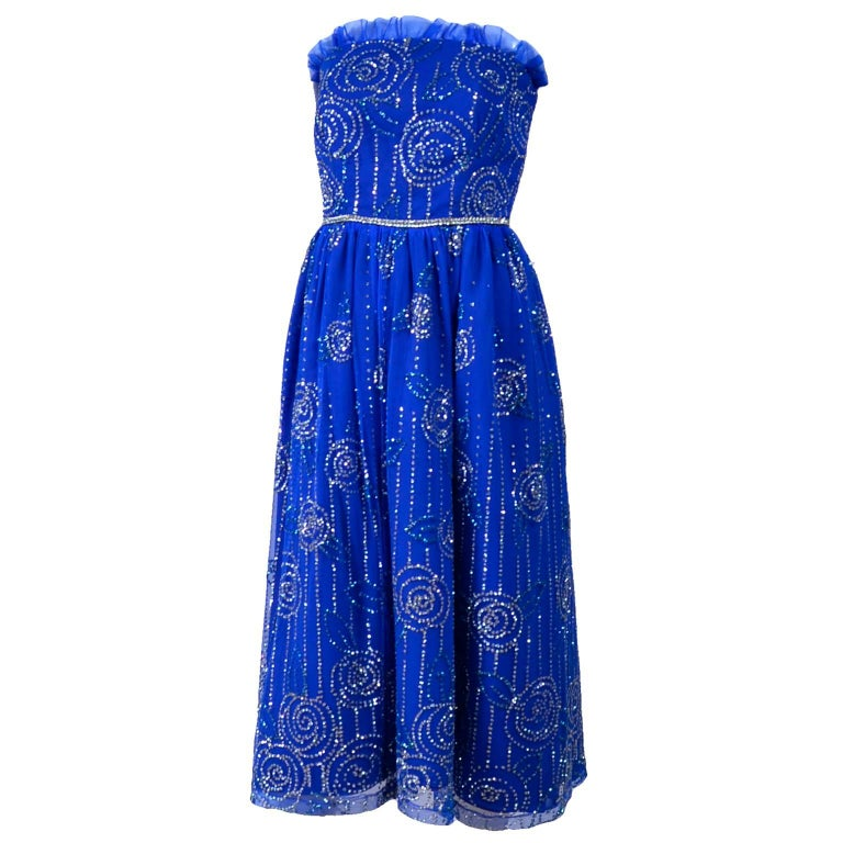 1970s Vintage Dress Strapless Bright Blue Tulle With Rhinestone Sparkles