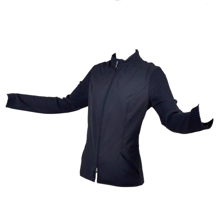 Paco Rabanne Black Zip Front Jacket