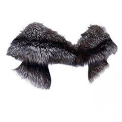 Carolina Herrera Silver Fox Fur Stole Wrap With Silk Lining