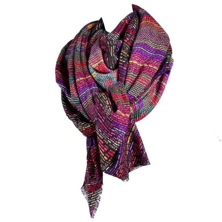 Bottega Veneta Scarf / Wrap in Oversized Wool Silk in Colorful Butterfly Pattern