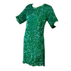 Vintage Green Beaded Sequin Silk Party Dress