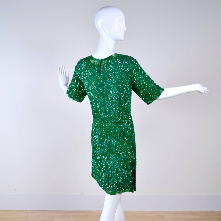 Vintage Green Beaded Sequin Silk Party Dress  For Sale 3