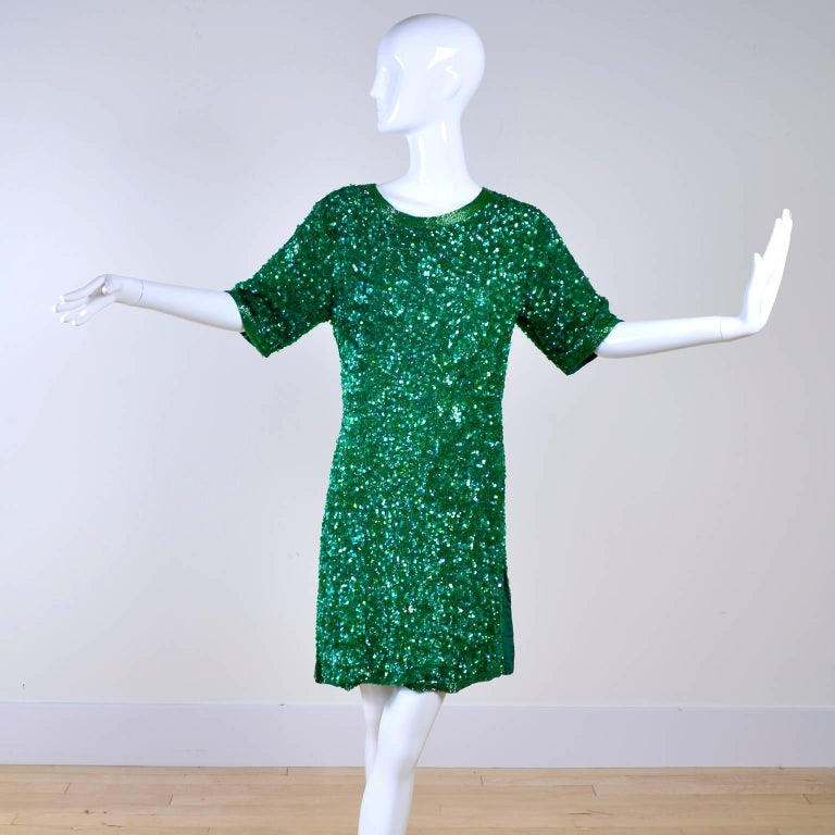Vintage Green Beaded Sequin Silk Party Dress  In Excellent Condition For Sale In Portland, OR
