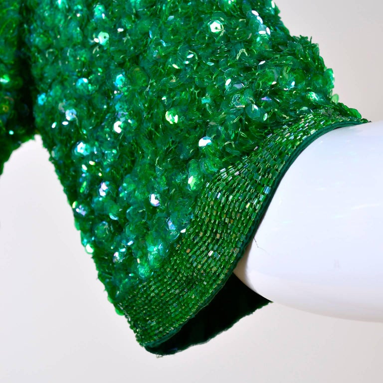 Women's Vintage Green Beaded Sequin Silk Party Dress  For Sale