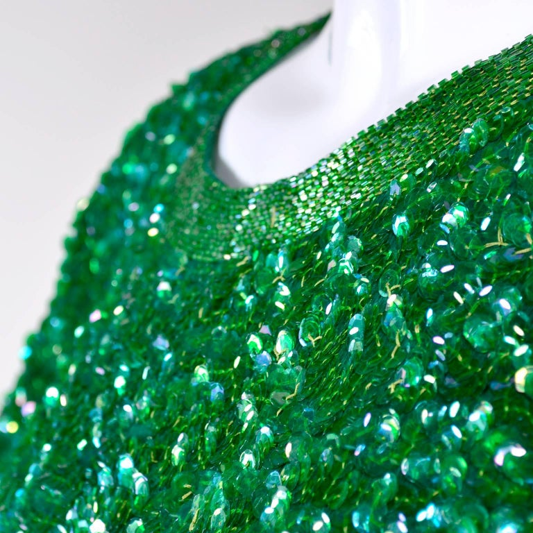 Vintage Green Beaded Sequin Silk Party Dress  For Sale 1