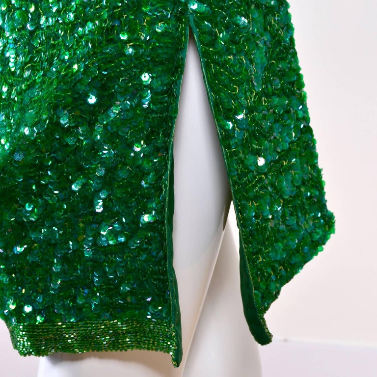 Vintage Green Beaded Sequin Silk Party Dress  For Sale 2