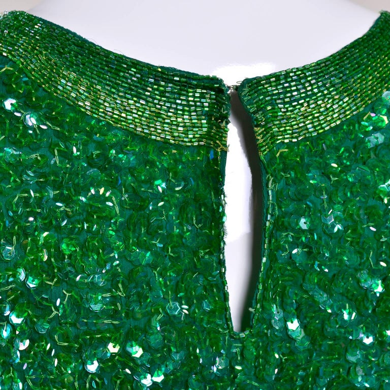 Vintage Green Beaded Sequin Silk Party Dress  For Sale 5