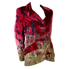 Christian Lacroix Vintage 1990s Red Gold & Black Velvet Blazer With Star Buttons