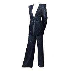 Christian Lacroix Black Jacket and Pants Evening Suit With Silver Glitter Stars